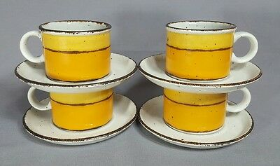 Midwinter - SUN - FLAT CUP & SAUCER SETS - Stonehenge - SET OF 4