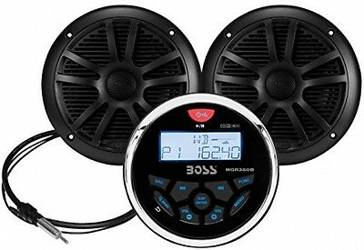 BOSS AUDIO MCKGB350B.6 Marine Package Includes MGR350B In-Dash Gauge AM/FM With