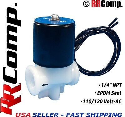 "1/4"" NPT 110/120 AC Plastic Electric Solenoid Valve, Seal EPDM: Air, Water, N/C"