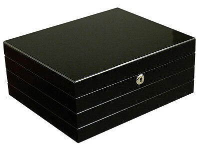 ONYX Cigar HUMIDOR Black - Holds 25-50 Cigars