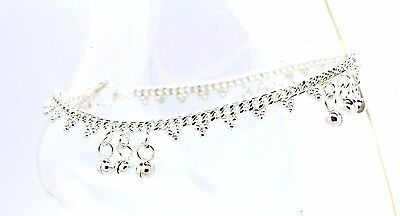 Silver Ankle Chain Anklet Indian Payal Foot Chain Single Pair With Bells (15)