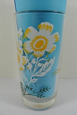 "Vintage Cosmos Flower Drinking glass White Yellow 5"" Tall - Fast Free Shipping"
