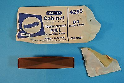 Vintage NOS Stanley Door Cabinet Hardware Included Pull D4 Antique Copper #4235