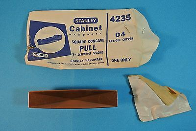 Vintage NOS Stanley Door Cabinet Hardware Pull D4 Antique Copper #4235
