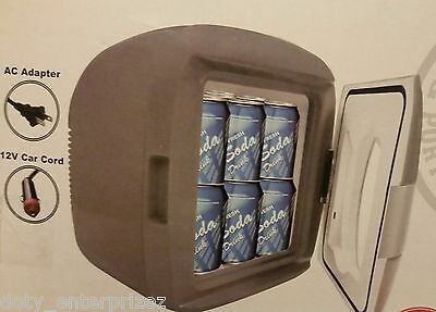 NEW 12-Can Portable Mini Fridge - Cooler/Warmer - AC/DC - Gray Sakar