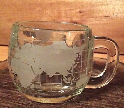 Set Of 4 Vintage Nestle Nescafe Frosted World Map Glass Coffee Mugs Cups