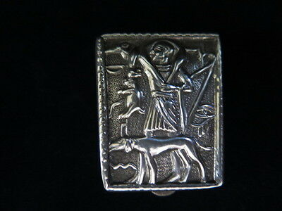 Egyptian Vintage Silver Handmade Phraonic Inscription Pill Box Fit In The Pocket