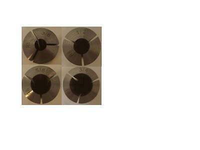 "4 PCS 3/8"" - 3/4"" by 1/8"" R8 COLLET SET BRIDGEPORT .0006"