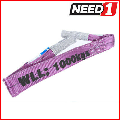 LIFT SAFE 1T x 1.5M Flat Lifting Sling 100% Polyester c/w Test Certificate
