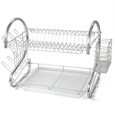 CF615 New 2 TIER CHROME PLATED DISH CUTLERY CUP DRIP TRAY PLATES HOLDER