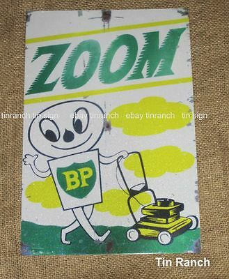 vintage BP ZOOM TIN SIGN New retro LAWNWOWER fuel petrol OIL garage man cave old