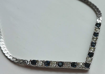 VINTAGE 1960s SIGNED MONET CLEAR SAPPHIRE BLUE RHINESTONE SILVER CHAIN NECKLACE