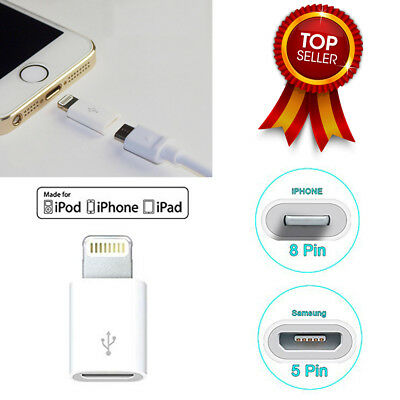 Samsung Micro USB 5Pin Female to Apple iPhone5/6/7 8Pin Male Adapter Converter