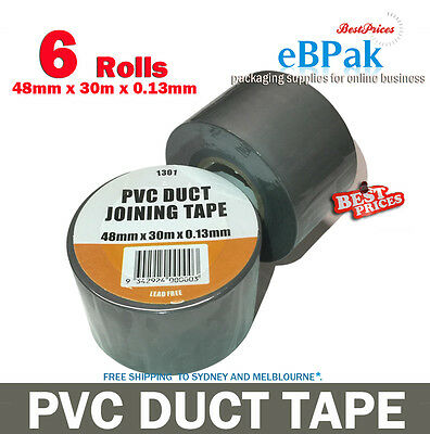 6 rolls of PVC Duct Tape 48mm x 30m x 0.13mm Joining Sealing - Silver Grey