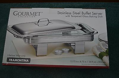 Tramontina Gourmet Collection Stainless Steel Buffet Server W/ Tempered Glass