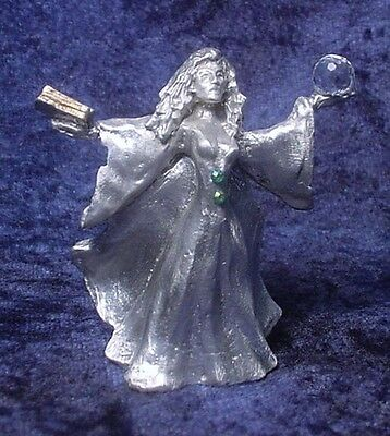 Pewter SORCERESS with Magic Book & Crystal Ball