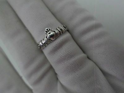 Vintage Silver Claddagh Ring With Celtic Knot Band