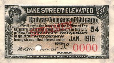 SUPERB RARE ORIG 1889 CHICAGO ELEVATED RWY COUPON from ONLY SPECIMEN BOND KNOWN!