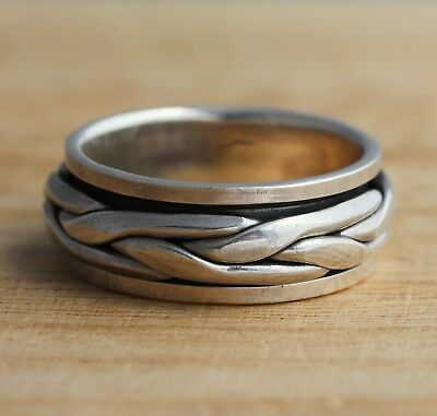 925 Sterling Silver Celtic Spinning Rotating Band Ring 8mm Wide UK Hallmarked