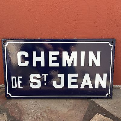 Old French Street Enameled Sign Plaque - vintage st jean 4