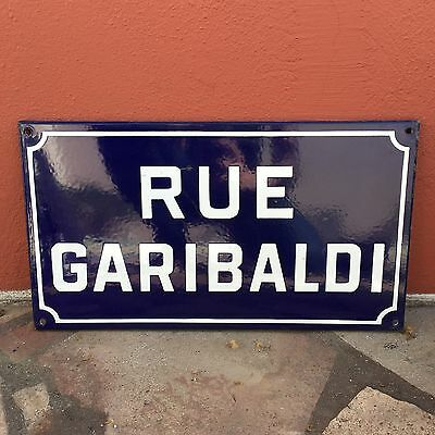 Old French Street Enameled Sign Plaque - vintage garibaldi