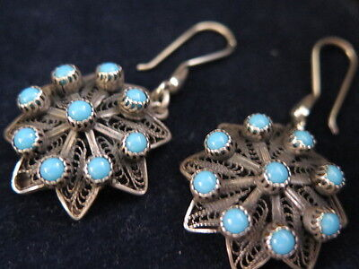 Egyptian Vintage Genuine Handmade, Pure Silver and Turquoise Earrings .