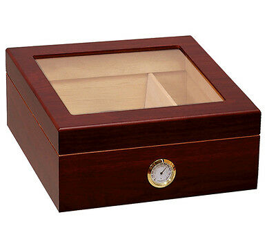 CHALET Glass Top HUMIDOR Mahogany - holds 25-50 Cigars