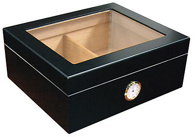 CHALET 25 Glass Top Cigar HUMIDOR Black - holds 25-50 Cigars