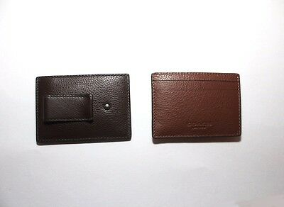 NEW Coach F75459 Mens Leather Money Clip Card Case