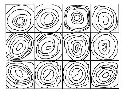 """Rug Hooking Pattern """"12 SQUARES CONCENTRIC CIRCLES"""" on natural linen"""