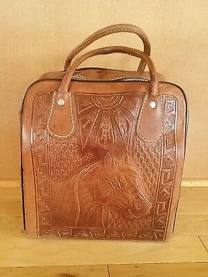 Vintage Leather Tooled Bowling Bag Horse Aztec Rockabilly Western Purse EUC