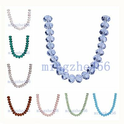 12mm  Rondelle Faceted Crystal Glass Loose Spacer Beads Findings  60Colors