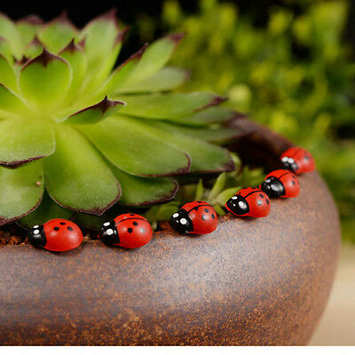 50PCS Miniature Fairy Doll House Garden Red Beetle Ladybug Ornament Craft/Decor