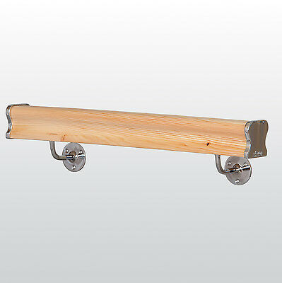 Pine Wall Mounted Handrail, Bracket and End Cap Kit - Chrome or Brushed Nickel