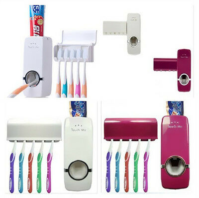 Auto Stand Rack New Toothpaste Dispenser +5 Toothbrush Holder Wall Mount Set
