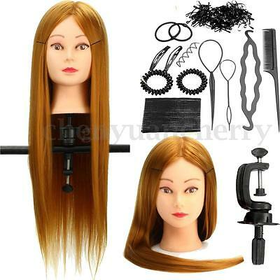 26'' Human Hair Training Practice Head Mannequin Hairdressing + Braid Tool New
