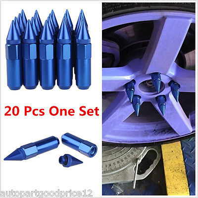 20Pcs Blue Spiked Aluminum Extended Tuner 60mm Lug Nuts For Wheel Rims M12 x 1.5