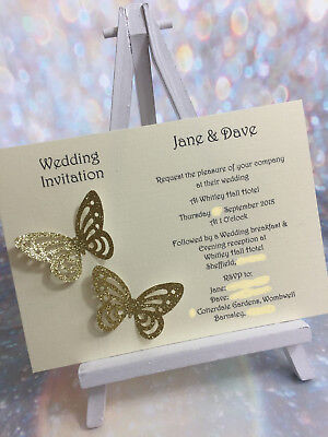 50 Personalised Glitter Butterfly Wedding Invitations ***14 colours***