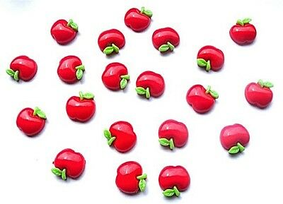 20 Red Apples Flatback Kitch Cabochons Resin Decoden - Fast Shipping