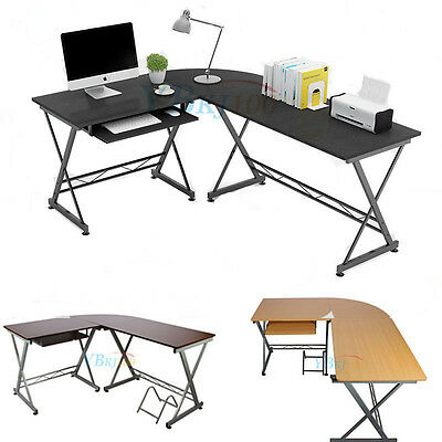 L-shape Designer Computer PC Table Home Study Office Furniture Corner Desk New