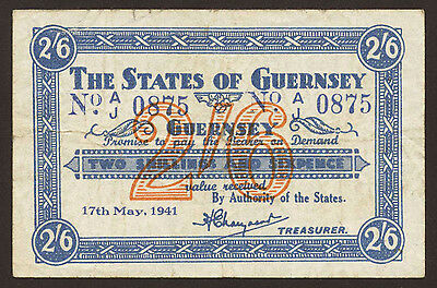 Ro.639 Guernsey German Occupation 2 Shillings 6 Pence 1941 Pick 20 (3-)
