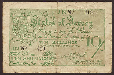 Ro.660b Jersey German Occupation 10 Shillings (1941-42) Pick 5 (4)