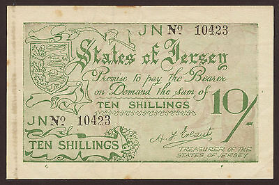 Ro.660d Jersey German Occupation 10 Shillings (1941-42) Pick 5 (3-)
