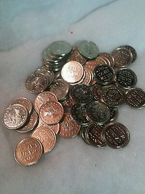 500 Silver Colored Brass Arcade Tokens Size .882  **FREE SHIP**