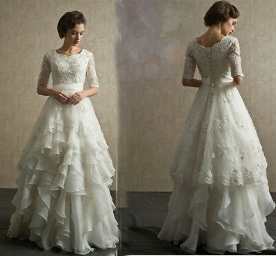 Modest Layers Organza Lace Wedding Dress A-Line Bridal Gown Custom All Size 4-26