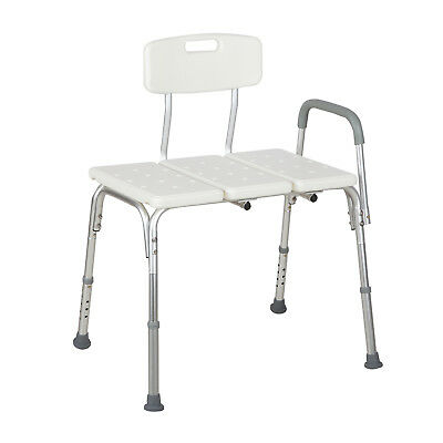 Adjustable 10 Height Medical Shower Chair Bath Tub Bench Stool Seat Back and Arm