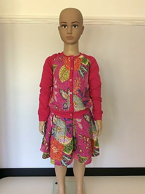 Oilily Girls Outfit, Set, Size Age 6 Years 116cm Pink Skirt & Cardigan, Vgc