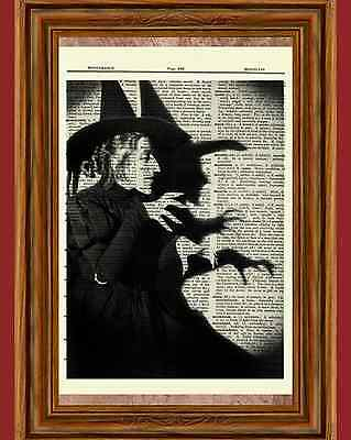 Wicked Witch Wizard of Oz Dictionary Art Print Picture Poster Margaret Hamilton