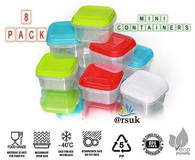 8pc Plastic Mini Storage Boxes Baby Weaning Feeding Freezer Food Pots Containers