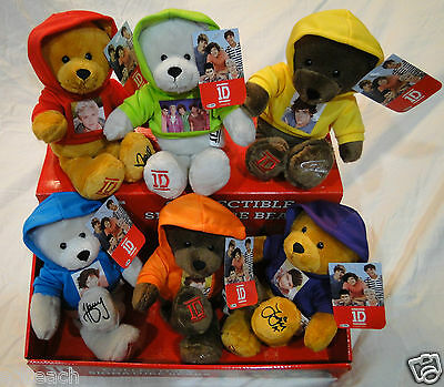 "One Direction Plush 9"" Bears 1D Collectible Officially Licensed w/Hoodie U Pick"